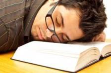 asleep on book